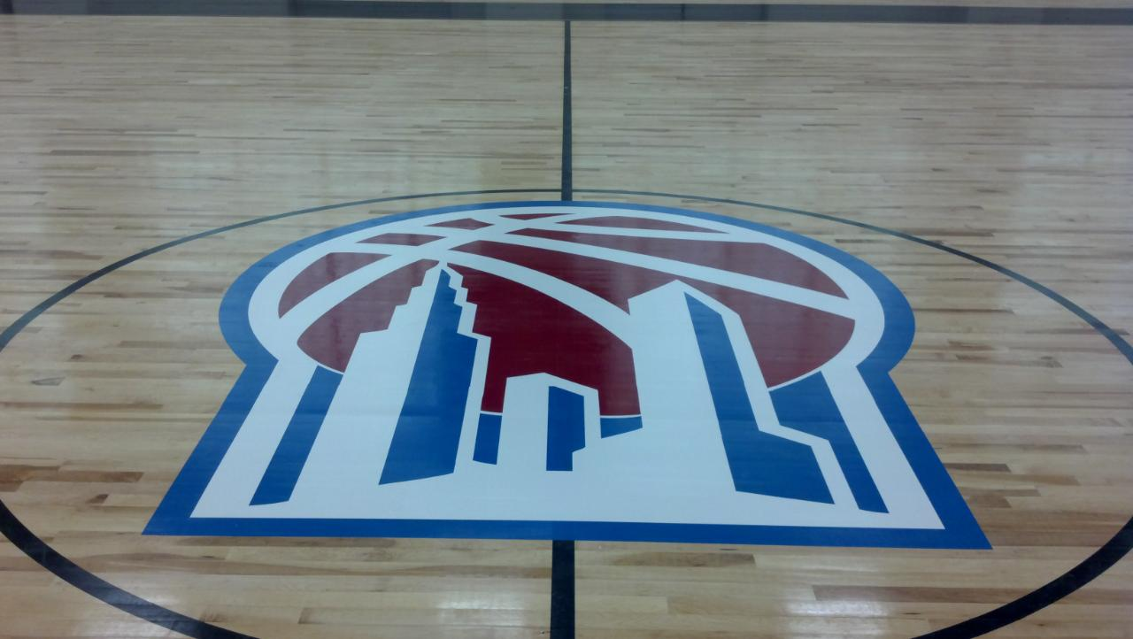 This is a picture of sports flooring installed at Basketball City